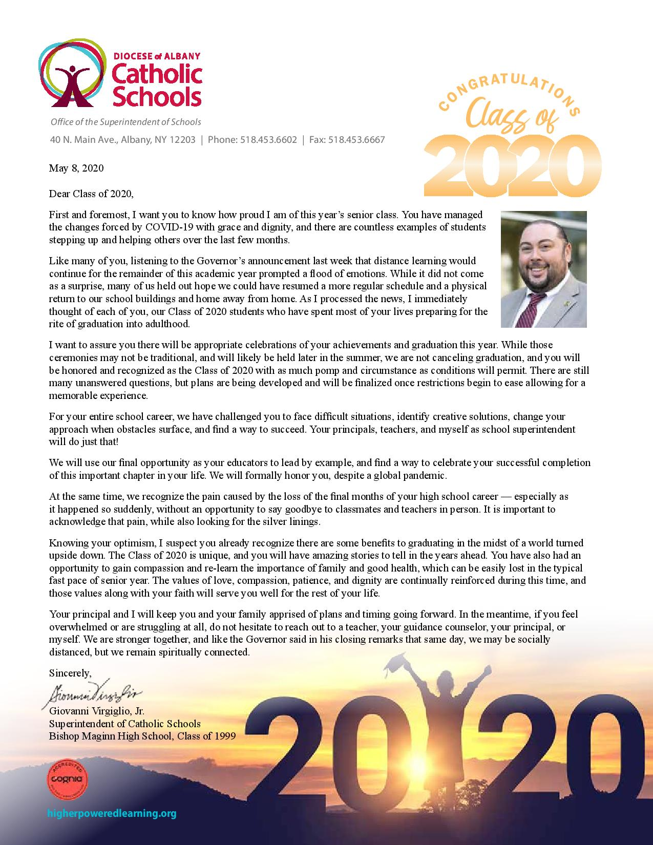 A letter from Supt. Virgiglio to the Class of 2020